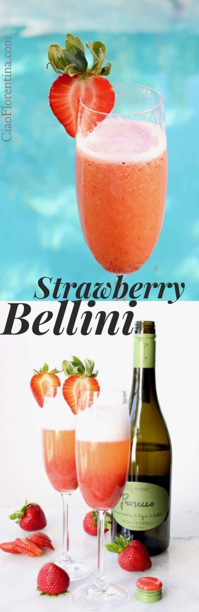 Strawberry Bellini Cocktails with #RiondoProsecco #ItalianForSummer | ad | CiaoFlorentina.com @CiaoFlorentina