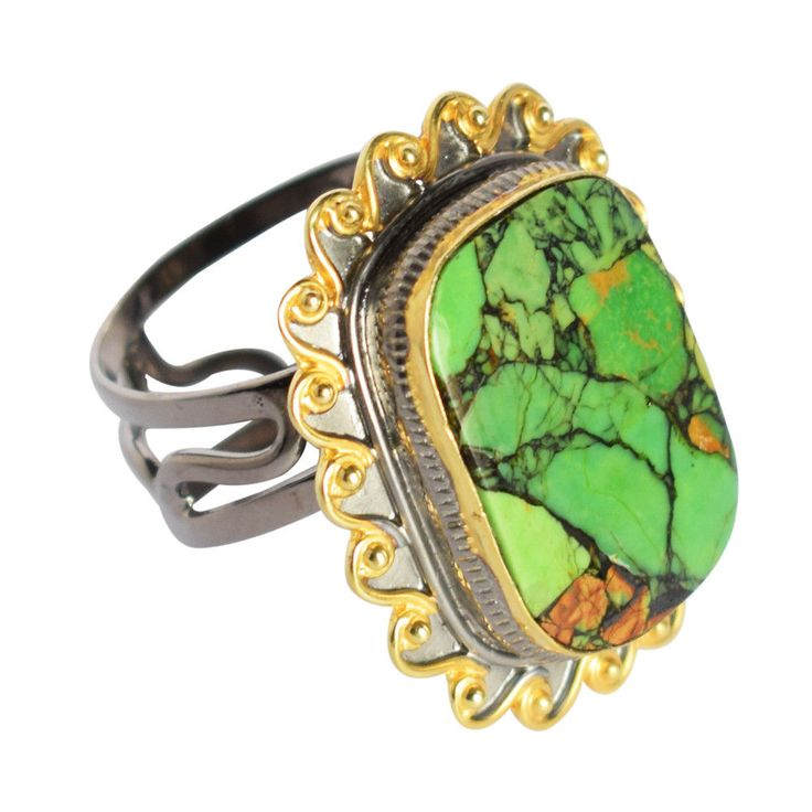 Green Copper Mohave Turquoise 925 Sterling Silver Gold Plated Ring Sz 8 FSJ-316 #Handmade #Statement #PartyFestive
