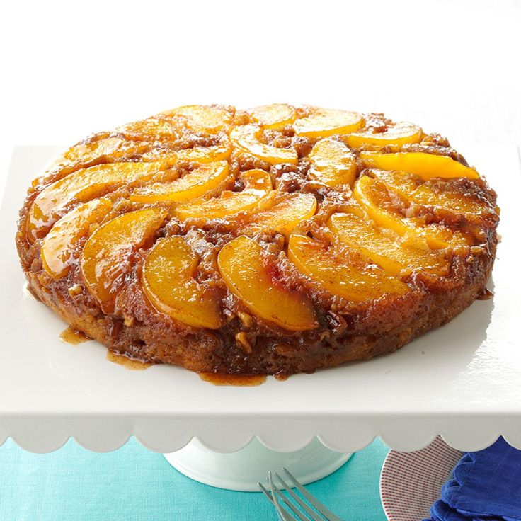 Peach Praline Upside-Down Cake Recipe -This cake is filled with fresh peaches, roasted Saigon cinnamon, roasted ground ginger and toasted pecans – and that makes it different. — Jeanette Nelson, Sophia, West Virginia