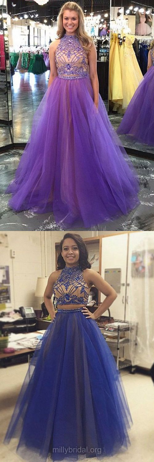 Elegant Purple Two Piece Prom Dresses, Princess Prom Gowns, Long Formal Dresses, Beading Evening Dresses, High Neck Girls Party Dresses