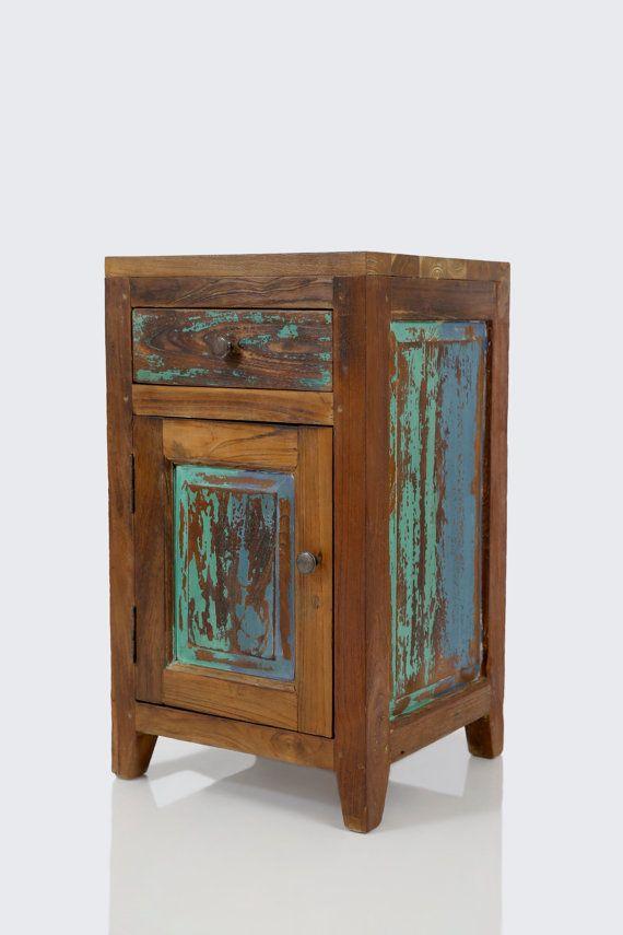 reclaimed teak boat wood side table / nightstand | wood side