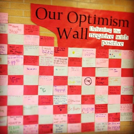 Wall of #Optimism, surround your school with positivity! Great for a classroom like mine, where a lot of kids already enter with a feeling of defeat.
