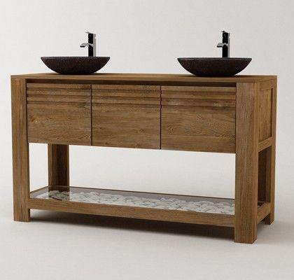 Meuble de salle de bain en teck : Jelita. Double vanité. Deux vasques en pierre qui donne un look à la fois rustique et moderne.