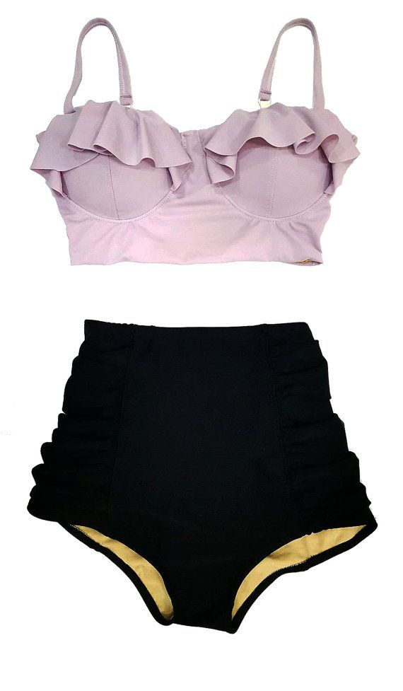 Women Retro Swimsuit Midkini Bikini Lilac Lavender Top and Black High Waist Bottom Swim Bathing suit dress clothing Set New Size Sz S M L XL