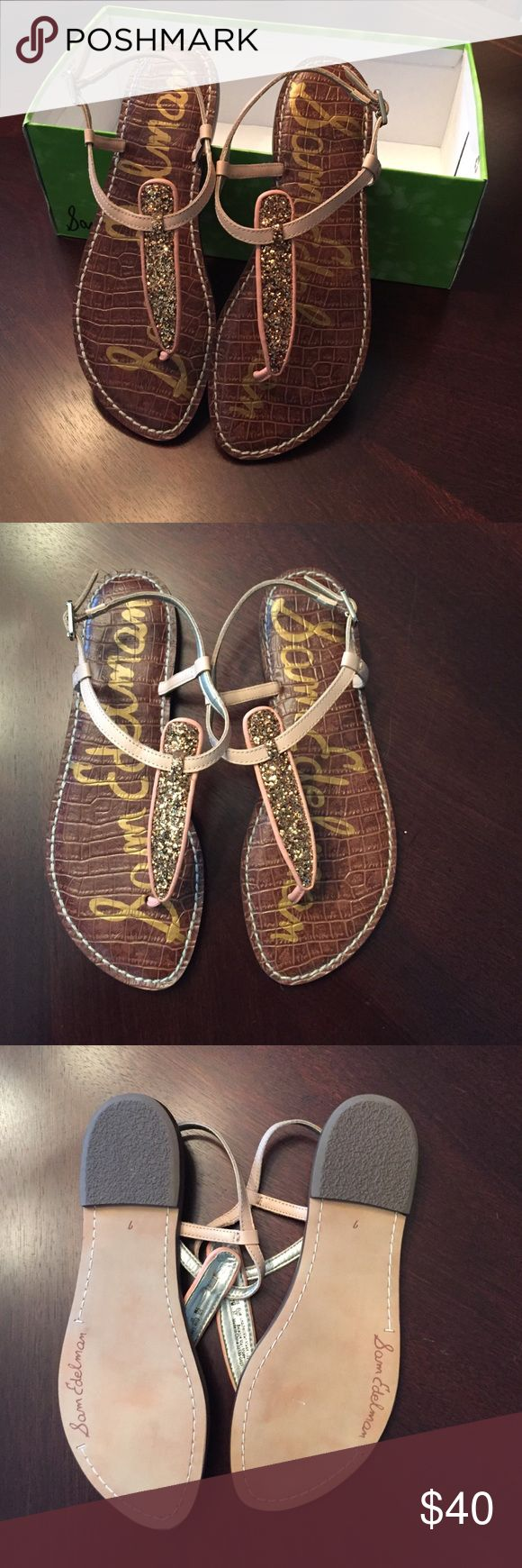 NEW Sam Edelman Gigi Sandals Size 7! Brand new in box (top of box is missing) Sam Edelman Papaya pink and nude glitter sandals! Size 7! My favorite style of sandals! I personally own two other pairs! Can easily be dressed up or dressed down :) Sam Edelman Shoes Sandals