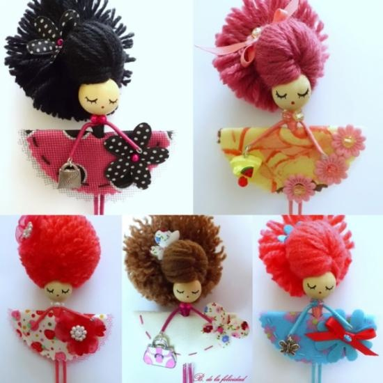 broche muñeca alambre-madera broche muñeca/doll brooch tela,madera,pintura…