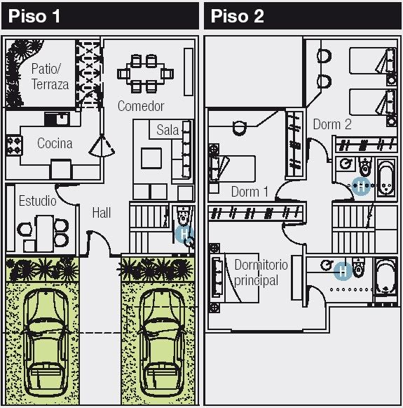 Planos de 120 m2 cuyo terreno es de 8 m de frente por 15 m de fondo. Se quiere distribuir en el primer piso un estacionamiento para dos aut...