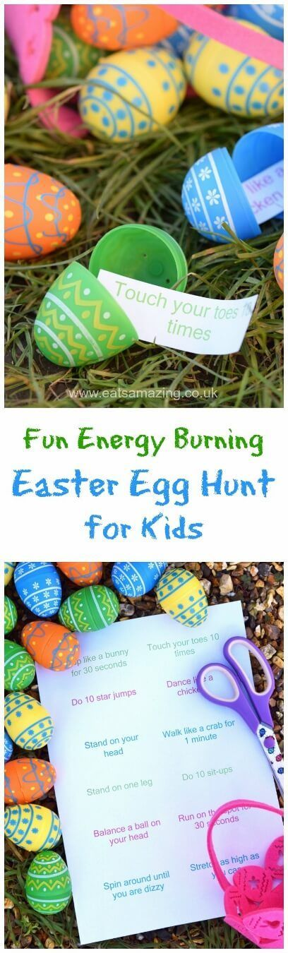 Fun Easter egg hunt idea for kids - fill the eggs with energy burning excercise ideas - fun and healthy alternative to a chocolate egg hunt with free printable list: