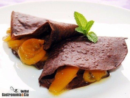 crepes de chocolate con harina de garbanzos