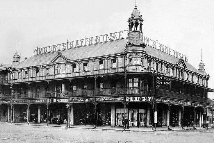 The stately Mounts Bay Hotel in Pritchard Street in 1900. It was built in 1889 and survived until 1909. Mounts Bay is recognised amongst the most beautiful bays in the world, centred on Penzance, Cornwall(With acknowledgement to Friedel Hansen)