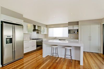 Wood floor with white