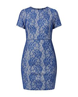 Keep this Blue Floral Lace Pencil Dress simple or dress up with accessories.