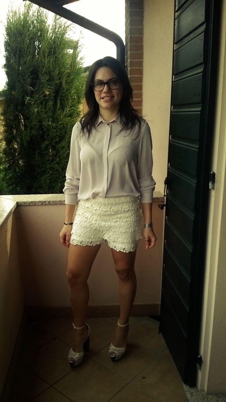 Shorts a vita alta in pizzo