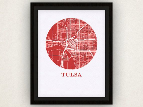 Tulsa Map Print  City Map Poster by OMaps on Etsy, $20.00