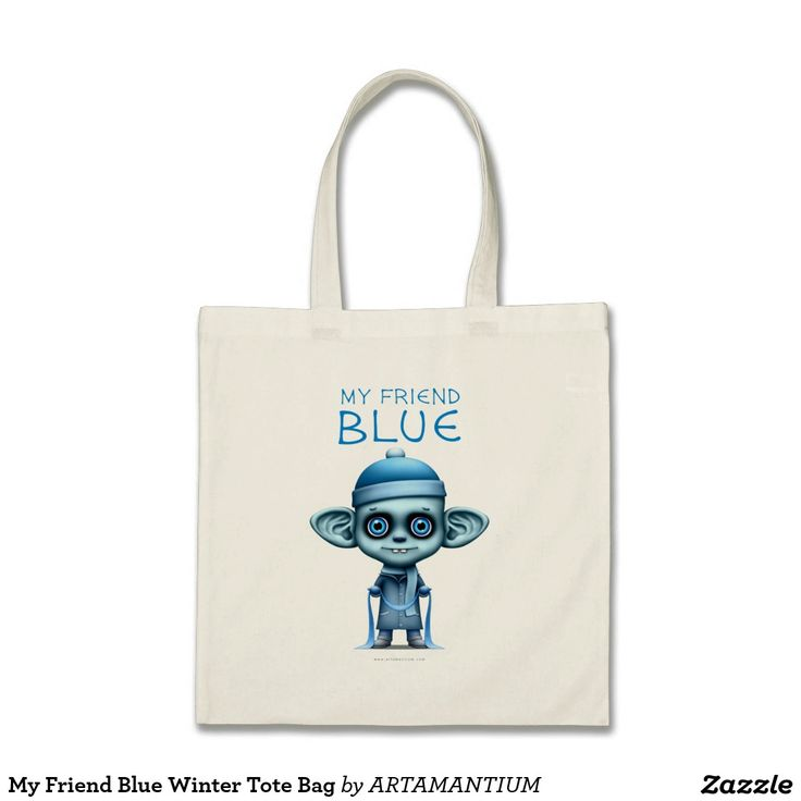 My Friend Blue Winter Tote Bag