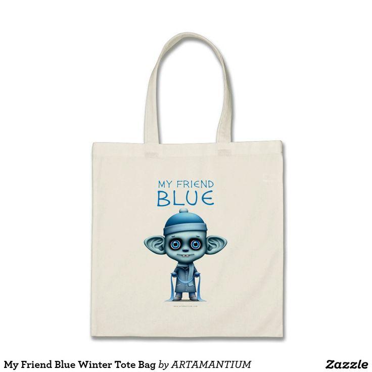 My Friend Blue Winter Tote Bag