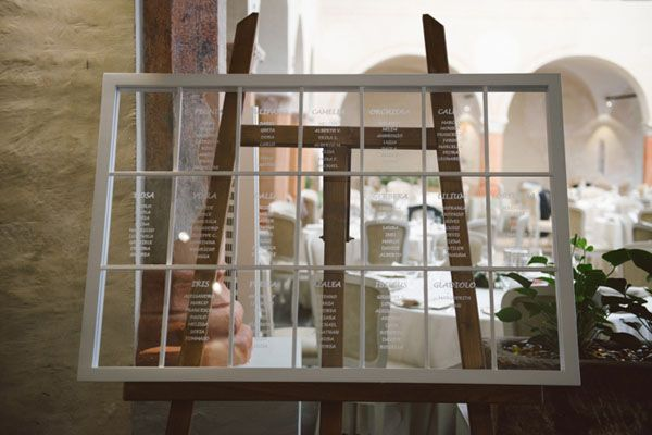 window as a seating plan http://weddingwonderland.it/2015/11/matrimonio-pesca-rosa-cipria.html