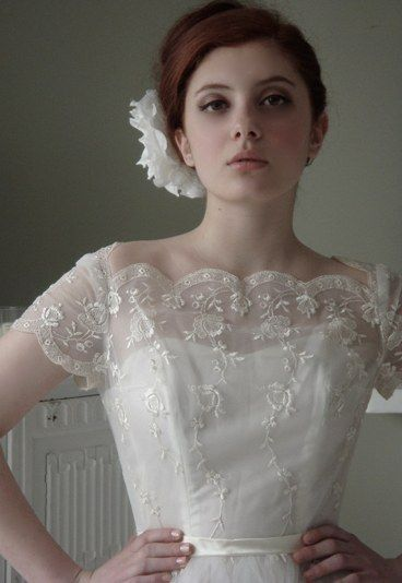 1950s lace and embroidered cap sleeve dress and silk flow: Wedding Dressses, Lace Wedding Dresses, Modest Wedding Dresses, Vintage Lace, Vintage Wedding Gowns, Vintage Wedding Dresses, Cap Sleeve, The Dresses, Lace Dresses
