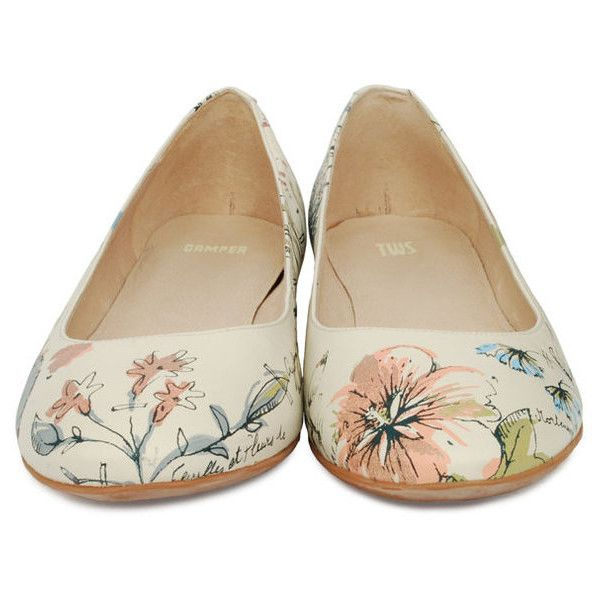 Camper Twins Floral Ballet Shoe 21478-001 ($110) ❤ liked on Polyvore featuring shoes, flats, zapatos, sapatos, women, camper shoes, floral shoes, ballet flats, skimmer flats and floral print flats