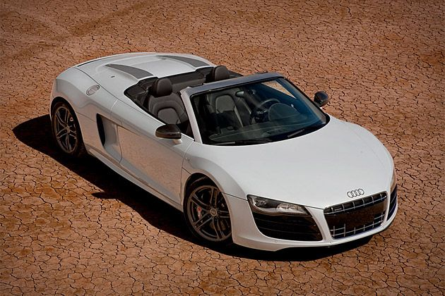 """Audi R8 GT Spyder  Few things can compare to a gorgeous convertible sports car, and few of those can compare to the Audi R8 GT Spyder ($210,000). Built by hand, each one features a 560 hp 5.2-liter V10 at its heart, accelerating it to 60 mph in just 3.8 seconds and a top speed of 197 mph. Other features include an ultra lightweight body that makes heavy use of carbon fiber-reinforced polymer, quattro all-wheel drive — we can hear the """"Hey, I needed it to get around in the snow!"""" excuses now…"""