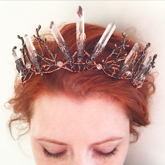 Die PERSEPHONE Crown - klare roh Crystal Quartz & Kupfer Zweig Crown - Alternative Braut, Festival, Magie