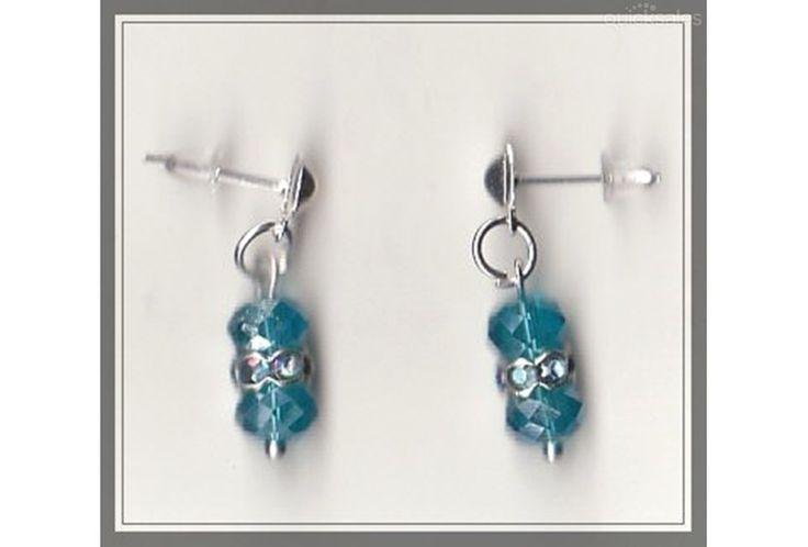 Crystal/Rhinestone Bead Silver Plated Stud Earrings