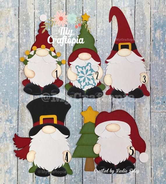 Love Christmas Gnome Die Cuts Embellishments Pre-Made Scrapbooking