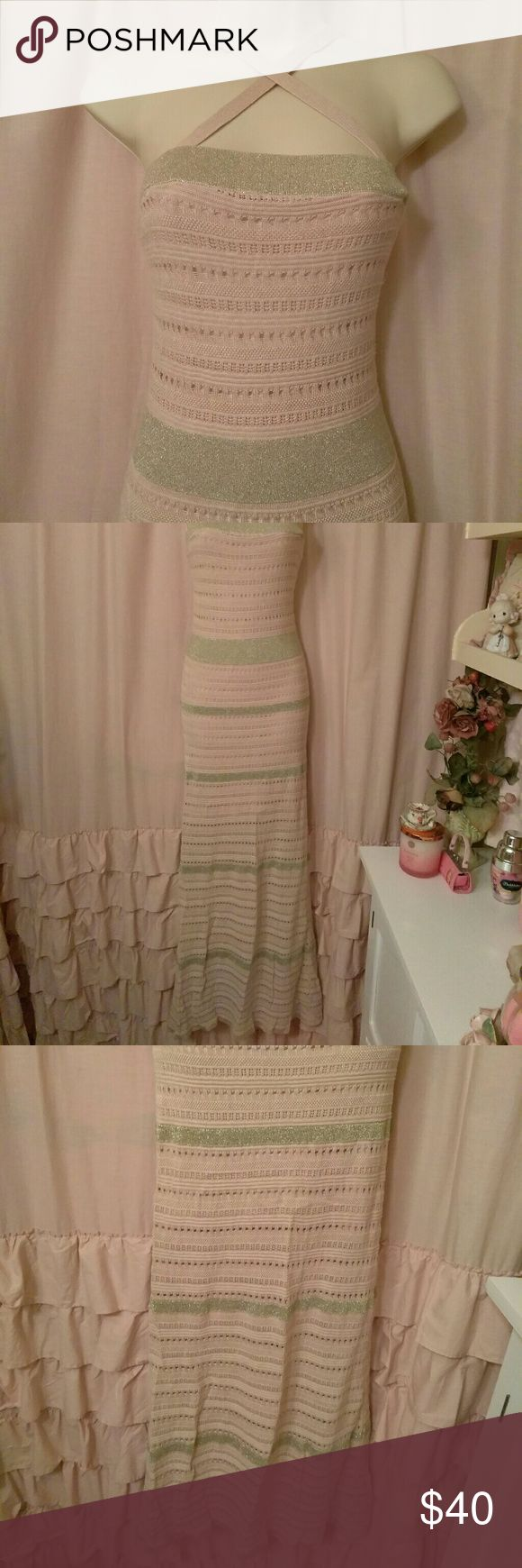 Victoria's Secret Knit Pink Gold Dress Adjustable and removeable straps, can be worn crossed, straight or strapless, pink and gold maxi Dress Victoria's Secret Dresses Maxi
