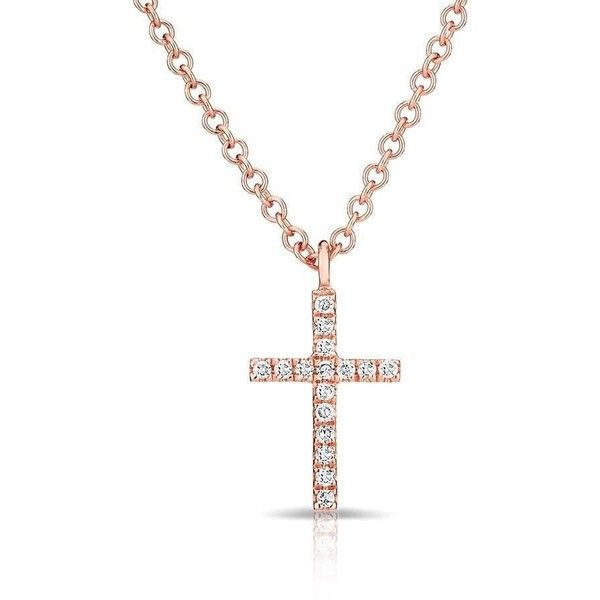 Anne Sisteron 14KT Rose Gold Diamond Cross Necklace (£280) ❤ liked on Polyvore featuring jewelry, necklaces, diamond cross necklace, rose gold diamond necklace, crucifix jewelry, diamond crucifix necklace and crucifix necklace