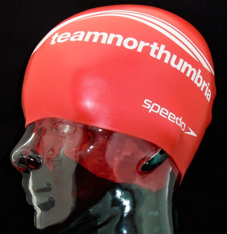 """Northumbria is a research-rich, business-focused, professional university with a global reputation for academic quality.  But it doesn't end with academics because they also have a swimming team!  Study hard.  Swim harder - and hopefully faster in their """"Team Northumbria"""" red silicone Speedo printed swimming caps from Swimprint."""