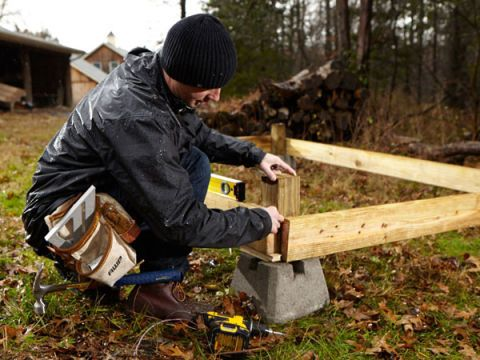 Parts and Tools: four 4 x 4 floor posts, 2 x 6 band joists, deck screws, 5/16-inch lag bolts and washers; 4-foot level, drill-driver Cut pressure-treated 4 x 4 lumber into 12-inch-long pieces. Insert a piece vertically into each corner concrete block. Cut a piece of pressure-treated 2 x 6 lumber to 67-3/4 inches. Place it on the short side of the shed layout where the terrain is at its highest elevation. Using deck screws, temporarily attach the board level to the 4 x 4 posts, ensuring that…