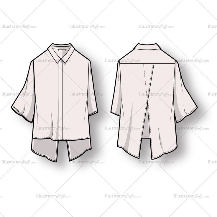 Women's Hi Low Open Back Blouse Fashion Flat Template