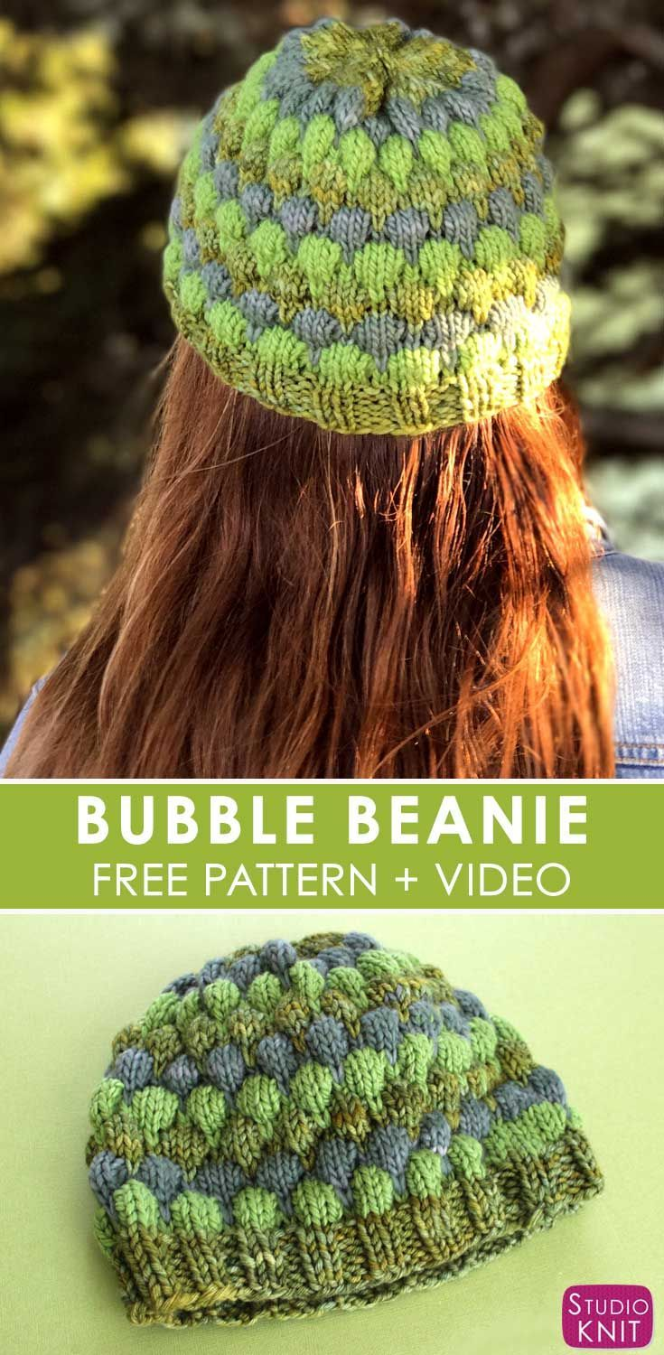 Bubble Beanie Hat for Women with Free Pattern and Video Tutorial by Studio Knit