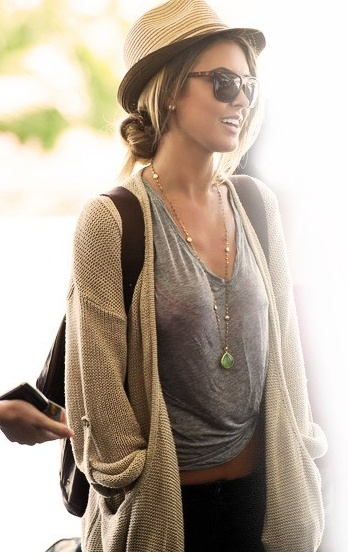 gorgeous ✺: Hats, Casual Outfit, Casual Style, Fedoras, Audrina Patridge, Comfy Casual, Airports Outfit, Travel Outfit, Casual Looks