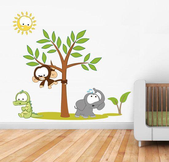 childrens bedroom wall stickers jungle animals art  http://www.rizvilia.com/fantastic-wall-stickers-bedroom-for-your-kids/childrens-bedroom-wall-stickers-jungle-animals-art-rz03/