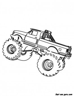 free printable monster truck coloring page for boy
