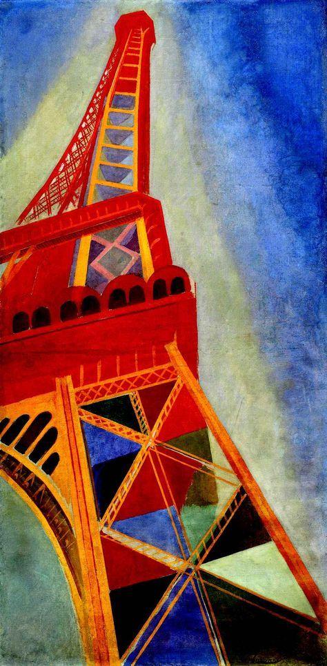 Fasciné par les nouveautés de la ville (électrification des rues, impact des panneaux publicitaires...), Robert Delaunay perçoit la modernité comme un débordement visuel, une sensation optique qui submerge: monumentale et éblouissante.Photo: La Tour Eiffel, 1926. Huile sur toile, 169 x 86 cm. Centre Pompidou, Musée national d'art moderne, Paris. Achat, 1950