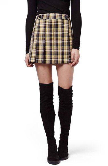 Topshop Plaid Kilt Miniskirt available at #Nordstrom