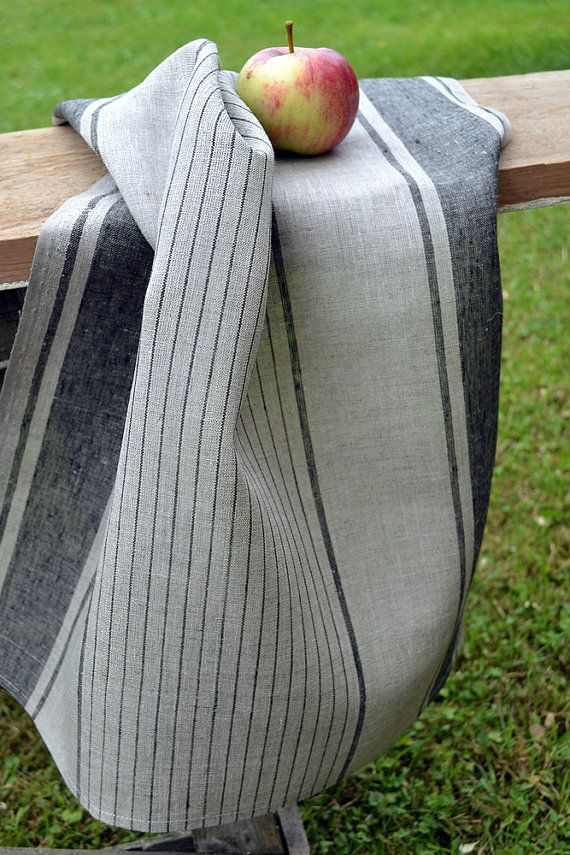SALE 10% 2 Linen Towel Gray Linen With Black by LinenLifeIdeas