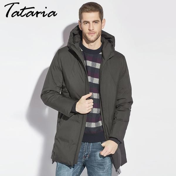 Men Down Hoodie Coats Winter Male Plus Size Duck Down Jacke Long Waterproof Parkas For Men Black Down Parka Coat 2017 TATARIA #hoodies