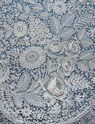 Beautiful but damaged antique/vintage Duchesse and Point de Gaze lace panel