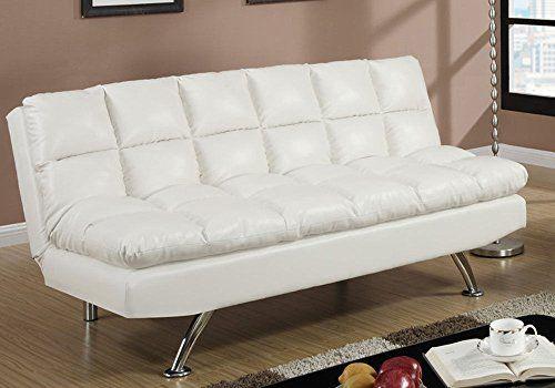1PerfectChoice Modern Living Adjustable Sofa Futon Bed Sleeper Sleepover Cream Faux Leather NEW