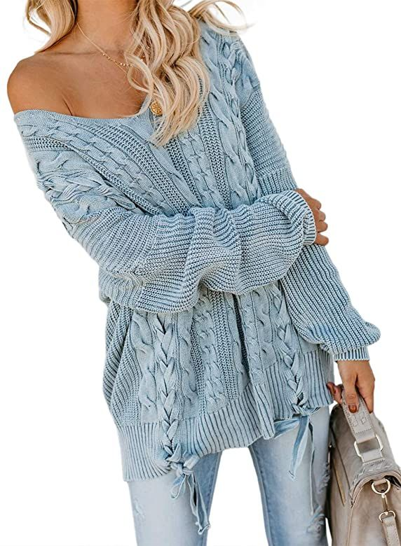 Womens Off Shoulder Ribbed Sweater Ladies Long Sleeve Pullover Jumper Casual Top