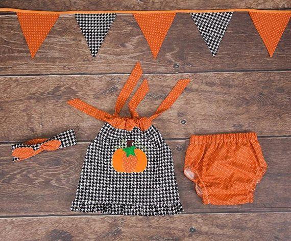 Halloween pumpkin autumn set for girls tunic panties headband
