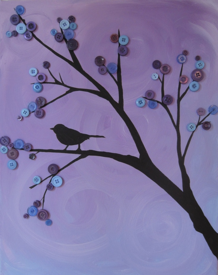 bird in a button tree - <3 <3 <3 this for a wall in the bathroom, closet or even on a headboard or dresser