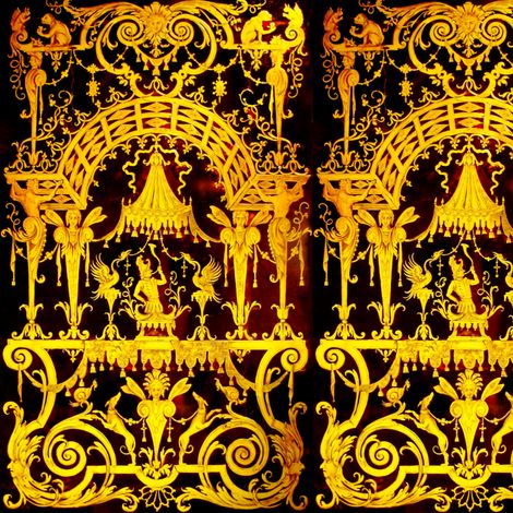 baroque rococo neoclassical squirrels monkeys vines gates gold flowers acanthus leaf leaves fairy fairies birds phoenixes dogs swirls mythology filigree thrones canopy state baldachin baldaquin trumpets soldiers victorian fabric by raveneve on Spoonflower - custom fabric