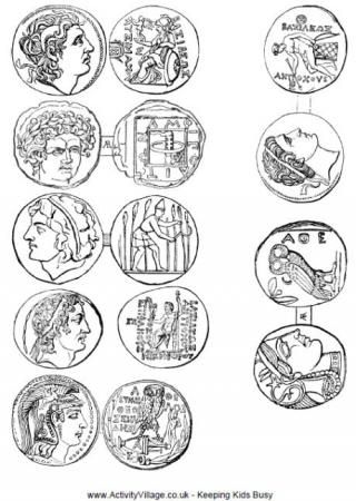 Ancient Greek Coins Printable - coloring sheets for ancient greece