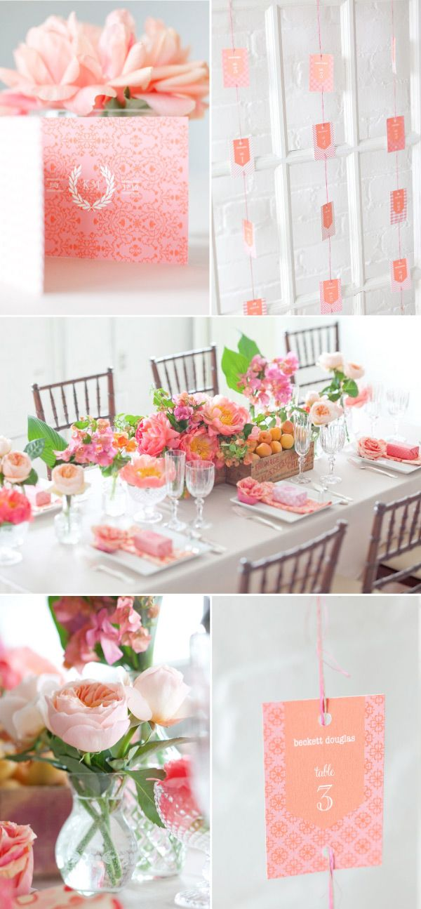 I love the simplicity of this theme, the pinks and orange/peaches are perfect together, you could play it up and make it very glam or play it down and make it very rustic <3