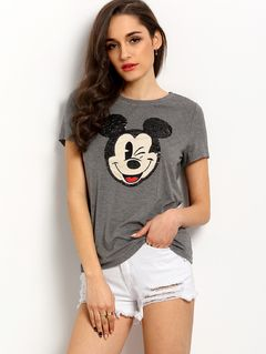 Grey Mickey Mouse Sequined Casual T-shirt