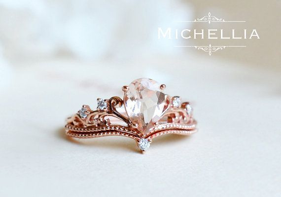 Pear Morganite Engagement Ring Set with Band, 14K 18K Rose Gold Vintage Crown Bridal Set, Art Deco Victorian Engagement Set with Diamond